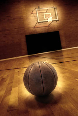Basketball And Basketball Court Print by Lane Erickson