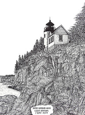Landscapes Drawing - Bass Harbor Head Light by Frederic Kohli