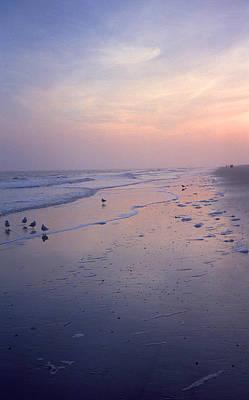 Beach At Dusk Print by Frank Romeo