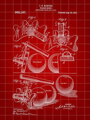 Billiard Sticks Digital Art - Billiard Bridge Patent 1910 - Red by Stephen Younts