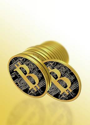 Circuit Photograph - Bitcoins by Victor Habbick Visions
