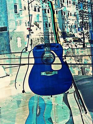 Blue Guitar Print by Sarah Loft