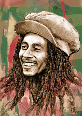Stylized Mixed Media - Bob Marley Stylised Pop Art Drawing Potrait Poser by Kim Wang