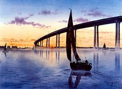 Bridge At Sunset Print by John YATO