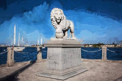 Bridge Of Lions St Augustine Florida Painted  Print by Rich Franco