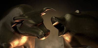 Bull And Bear Market Statues Print by Allan Swart