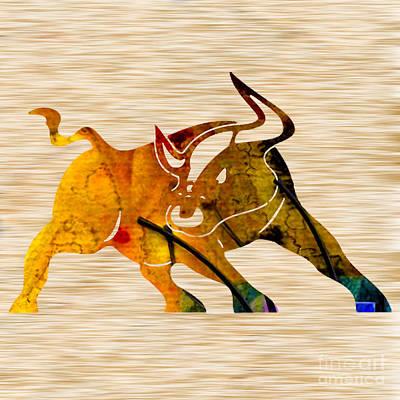Abstract Mixed Media - Bull by Marvin Blaine