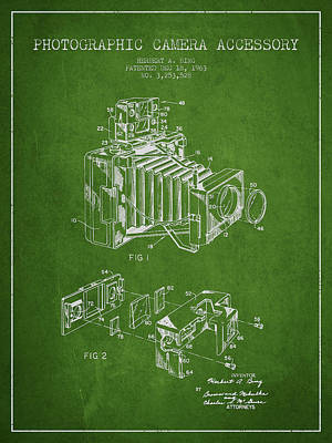 Film Camera Digital Art - Camera Patent Drawing From 1963 by Aged Pixel