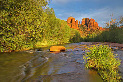 Cathedral Rocks Reflect Into Oak Creek Print by Chuck Haney