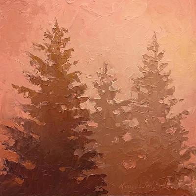 3 Cedars In The Fog No. 1 Original by Karen Whitworth