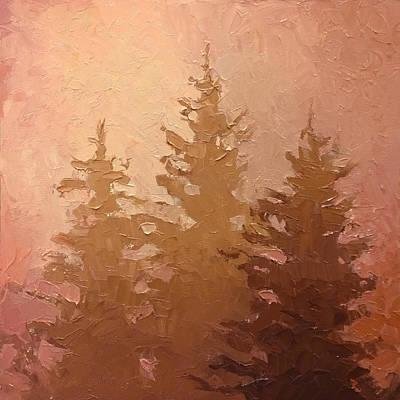 3 Cedars In The Fog No. 2 Original by Karen Whitworth