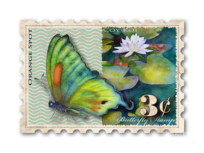 Waterlilies Painting - 3 Cent Butterfly Stamp by Amy Kirkpatrick