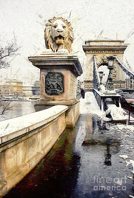 Eastern Europe Painting - Chain Bridge In Budapest by Odon Czintos