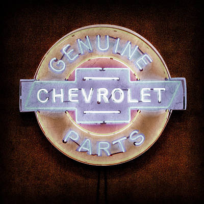 Chevrolet Neon Sign Print by Jill Reger