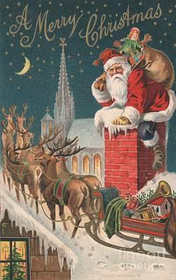 Reindeer Painting - Christmas Card by English School