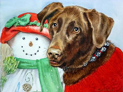 Chocolate Lab Painting - Christmas by Irina Sztukowski