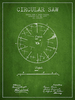 Woodworking Print featuring the drawing Circular Saw Patent Drawing From 1899 by Aged Pixel