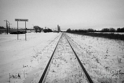 Cn Canadian National Railway Tracks And Grain Silos Kamsack Saskatchewan Canada Print by Joe Fox