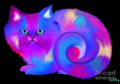 Pets Art Digital Art - Colorful Cat by Nick Gustafson