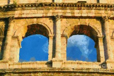 Central Painting - Colosseum In Rome Under Late Afternoon Light by George Atsametakis