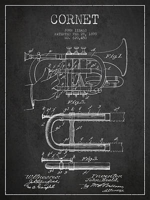 Trumpet Digital Art - Cornet Patent Drawing From 1899 - Dark by Aged Pixel