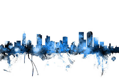 Denver Digital Art - Denver Colorado Skyline by Michael Tompsett