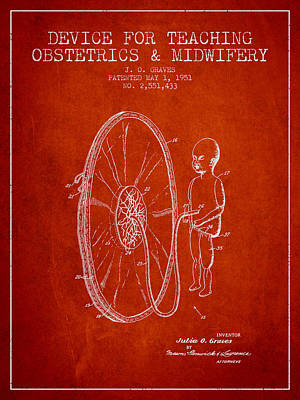 Device For Teaching Obstetrics And Midwifery Patent From 1951 -  Print by Aged Pixel