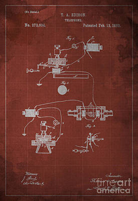 Patent Drawing - Edison Telephone Patent Blueprint 1 by Pablo Franchi