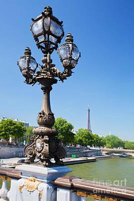 History Photograph - Eiffel Tower And Bridge On Seine River In Paris by Michal Bednarek