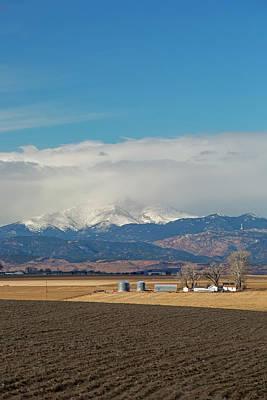 Farmland Below The Rocky Mountains Print by Jim West