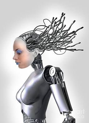 Female Cyborg, Artwork Print by Victor Habbick Visions
