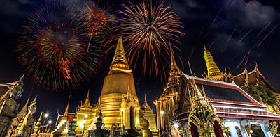 Firework On Wat Phra Kaeo  Print by Anek Suwannaphoom