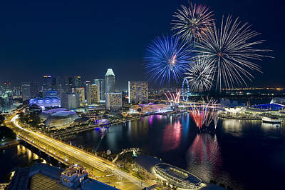 Firework Photograph - Fireworks by Ng Hock How