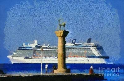 Statue Painting - Fishing At The Entrance Of Mandraki Port by George Atsametakis