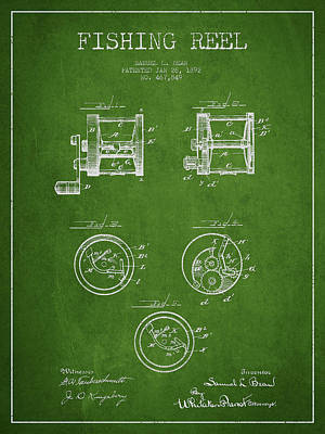 Fishing Reel Patent From 1892 Print by Aged Pixel