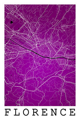 Road Digital Art - Florence Street Map - Florence Italy Road Map Art On Color by Jurq Studio