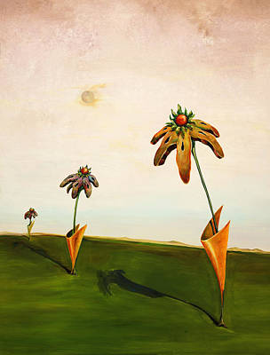 Dali Like Painting - 3 Flowers by Brent Miller