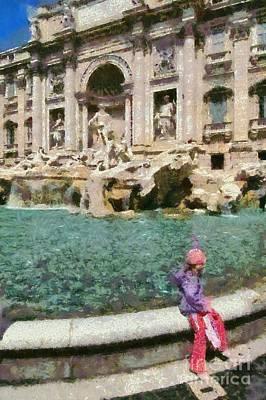Paint Painting - Fontana Di Trevi In Rome by George Atsametakis
