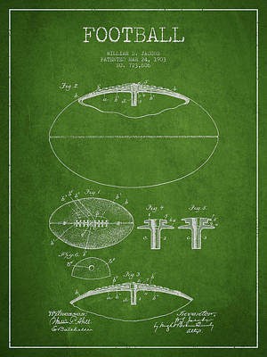 Football Drawing - Football Patent Drawing From 1903 by Aged Pixel