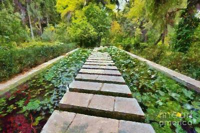 Waterlily Painting - Footpath by George Atsametakis