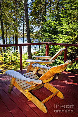 Muskoka Photograph - Forest Cottage Deck And Chairs by Elena Elisseeva