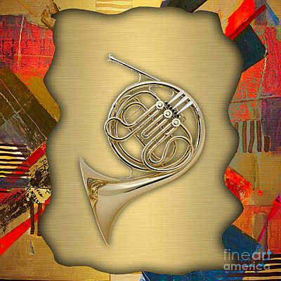 Music Mixed Media - French Horn Collection by Marvin Blaine