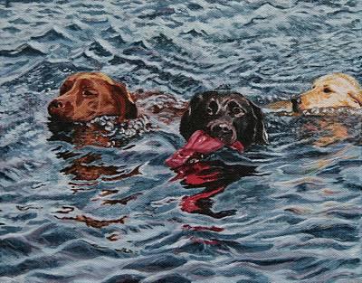 Chocolate Labrador Retriever Painting - 3 Friends by Wendy Whiteside