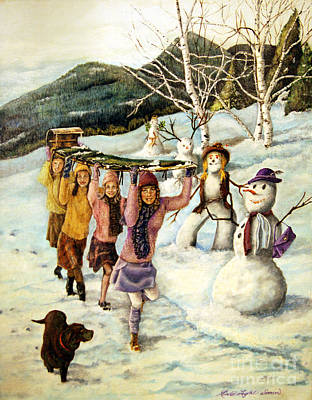 Frosty Frolic Print by Linda Simon