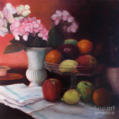 Still Life With Green Apples Painting - Fruit On Glass Dish by Marlene Book