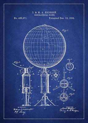 Spinning Digital Art - Geographical Globe Patent Drawing From 1892 by Aged Pixel