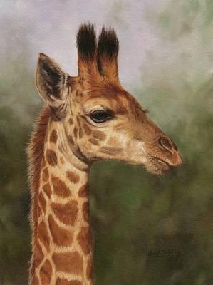 Giraffe Painting - Giraffe by David Stribbling