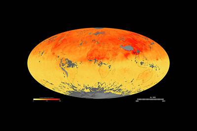Global Carbon Monoxide Levels Print by Goddard Space Flight Center/nasa Earth Observatory/jesse Allen/nasa