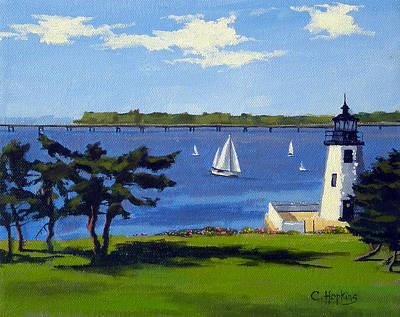 Goat Island Lighthouse Newport Rhode Island Print by Christine Hopkins
