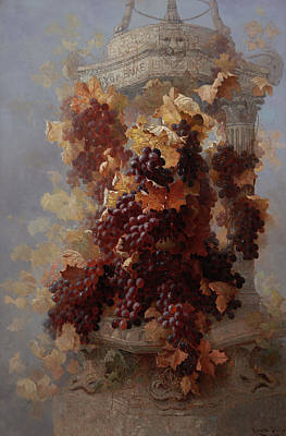 Grape Vine Painting - Grapes And Architecture by Edwin Deakin